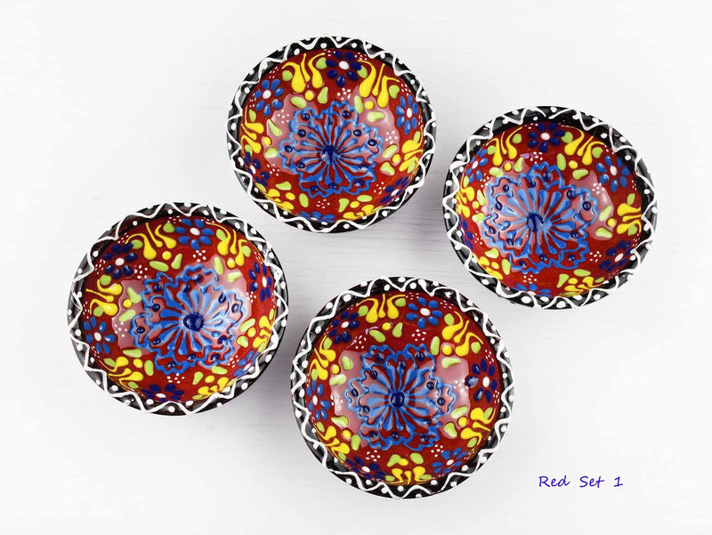 5 cm Turkish Bowls Dantel Nimet Set of 4 Ceramic Sydney Grand Bazaar Red 1