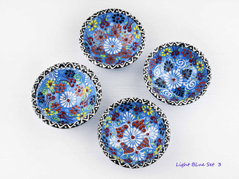 5 cm Turkish Bowls Dantel Nimet Set of 4 Ceramic Sydney Grand Bazaar Light blue 3