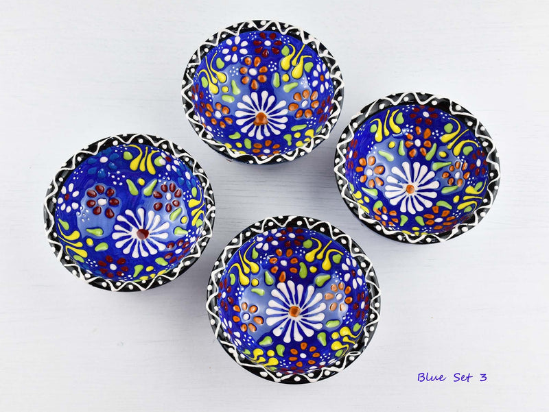5 cm Turkish Bowls Dantel Nimet Set of 4 Ceramic Sydney Grand Bazaar Blue 3