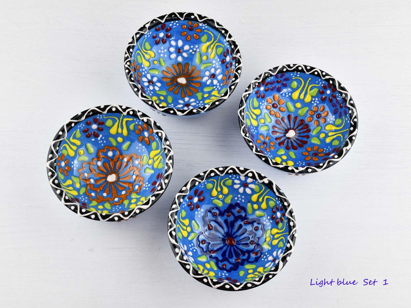 5 cm Turkish Bowls Dantel Nimet Set of 4 Ceramic Sydney Grand Bazaar Light blue 1