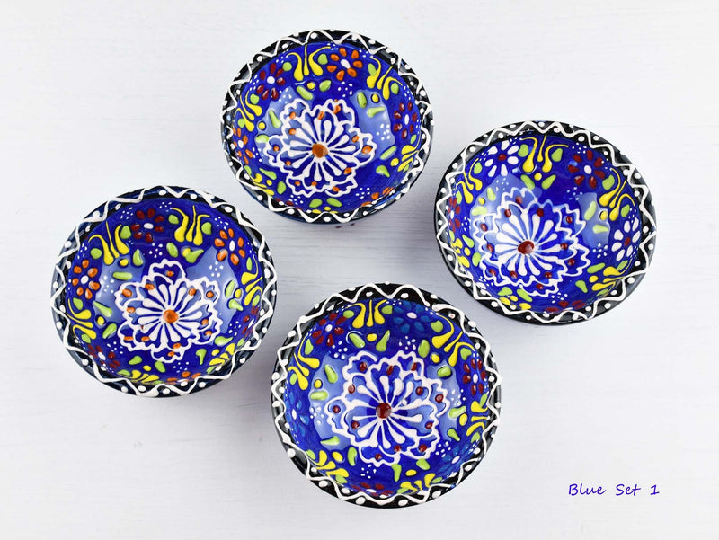 5 cm Turkish Bowls Dantel Nimet Set of 4 Ceramic Sydney Grand Bazaar Blue 1