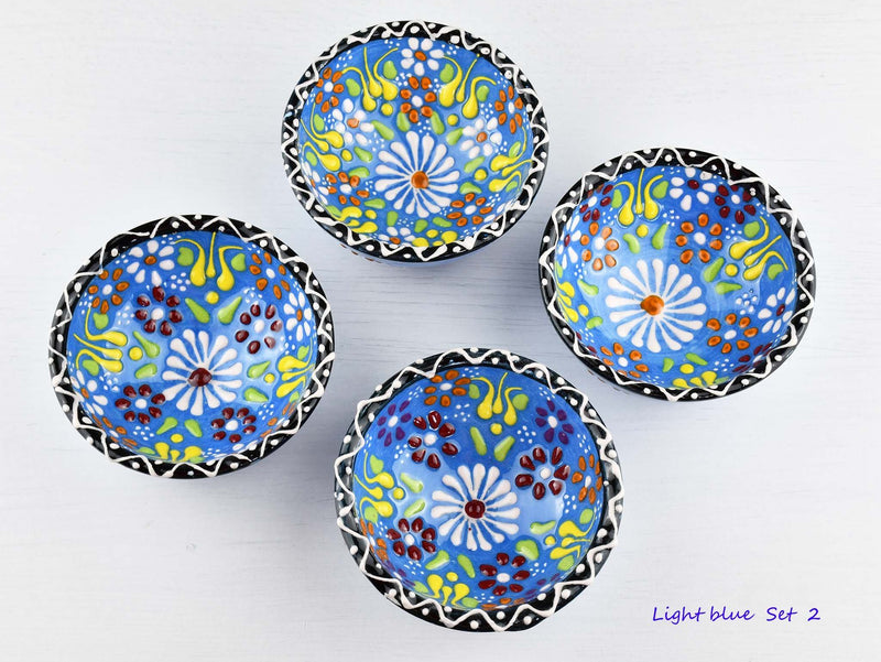 5 cm Turkish Bowls Dantel Nimet Set of 4 Ceramic Sydney Grand Bazaar Light blue 2