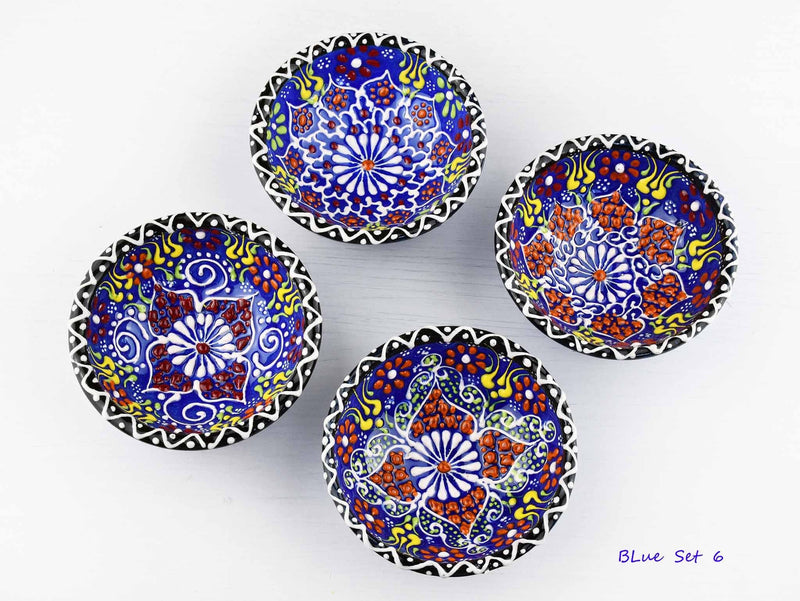 5 cm Turkish Bowls Dantel Nimet Set of 4 Ceramic Sydney Grand Bazaar Blue 6