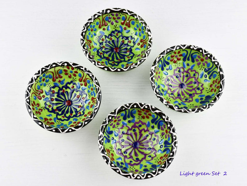 5 cm Turkish Bowls Dantel Nimet Set of 4 Ceramic Sydney Grand Bazaar Light green 2