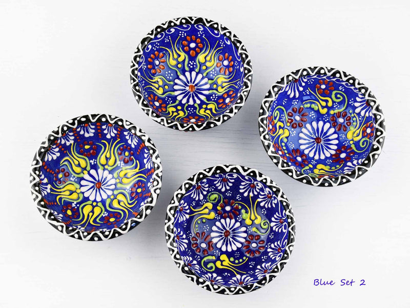5 cm Turkish Bowls Dantel Nimet Set of 4 Ceramic Sydney Grand Bazaar Blue 2