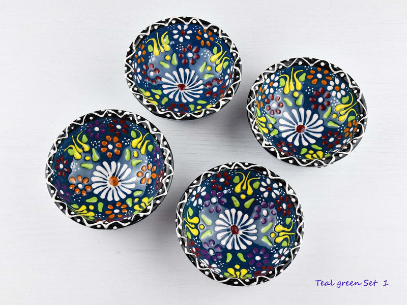 5 cm Turkish Bowls Dantel Nimet Set of 4 Ceramic Sydney Grand Bazaar Teal green 1