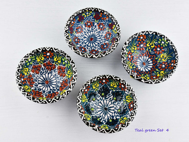 5 cm Turkish Bowls Dantel Nimet Set of 4 Ceramic Sydney Grand Bazaar Teal green 4