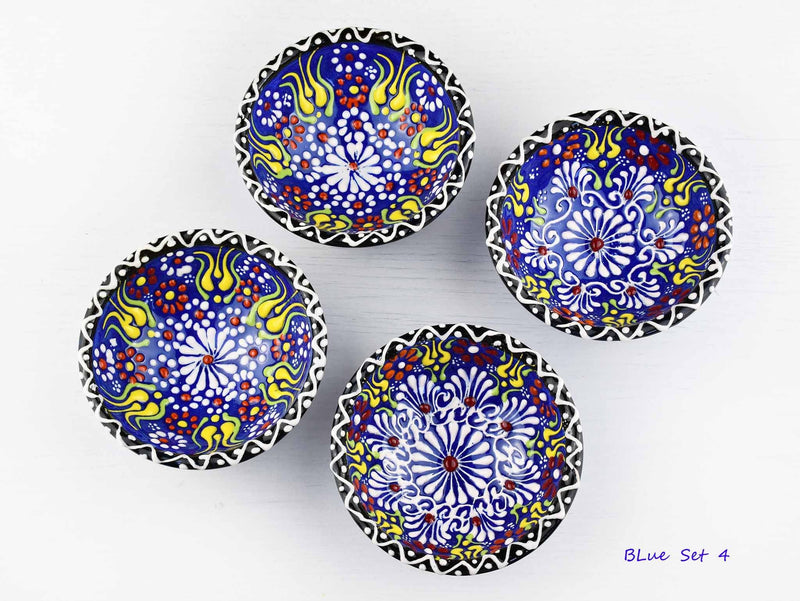5 cm Turkish Bowls Dantel Nimet Set of 4 Ceramic Sydney Grand Bazaar Blue 4