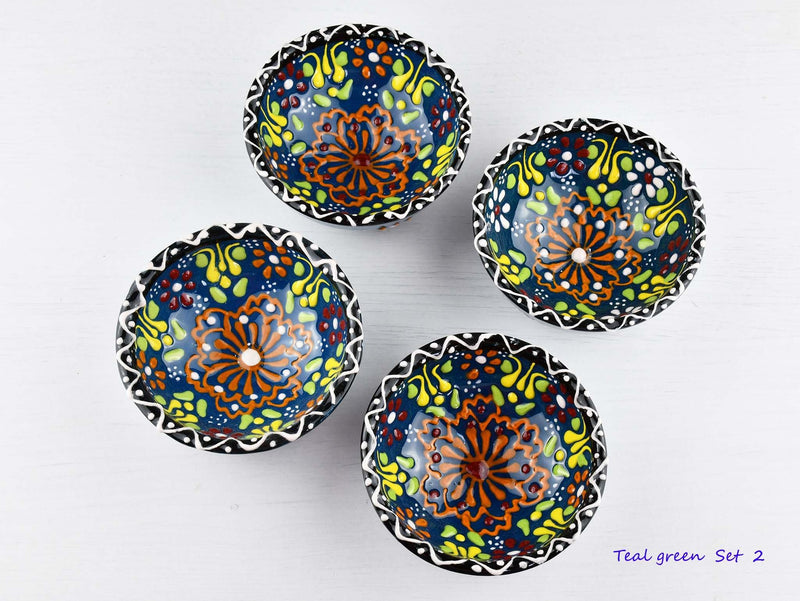 5 cm Turkish Bowls Dantel Nimet Set of 4 Ceramic Sydney Grand Bazaar Teal green 2