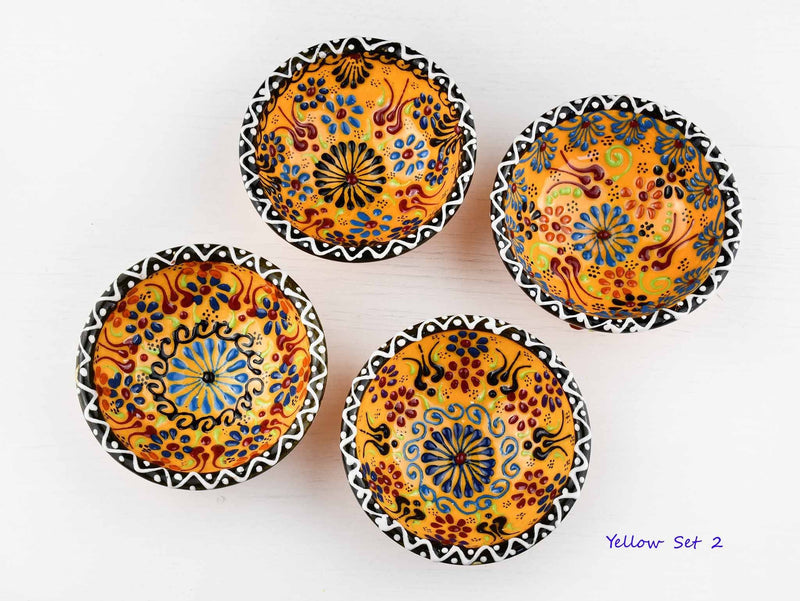 5 cm Turkish Bowls Dantel Nimet Set of 4 Ceramic Sydney Grand Bazaar Yellow 2