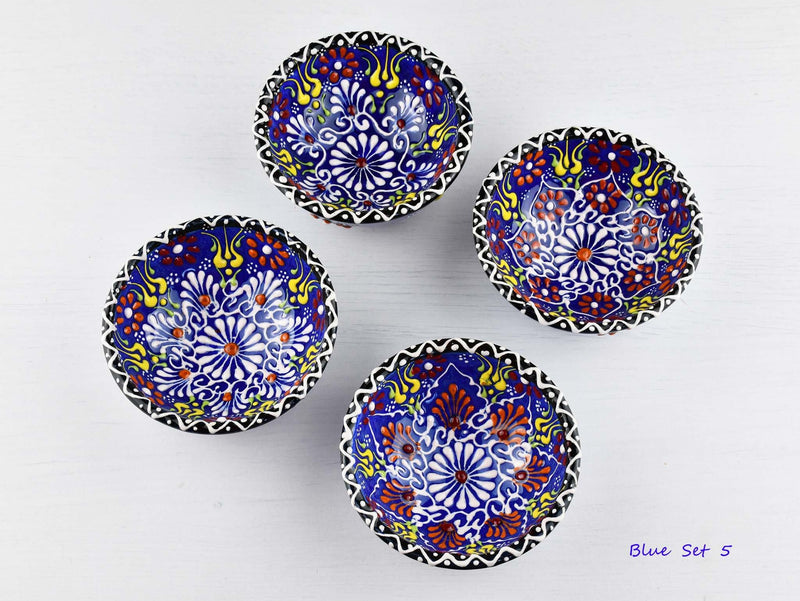 5 cm Turkish Bowls Dantel Nimet Set of 4 Ceramic Sydney Grand Bazaar Blue 5