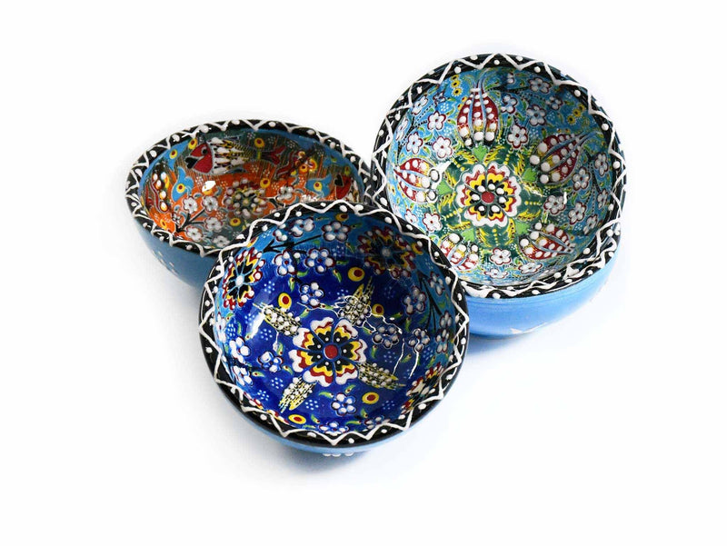30 cm Turkish Bowls Flower Orange Blue