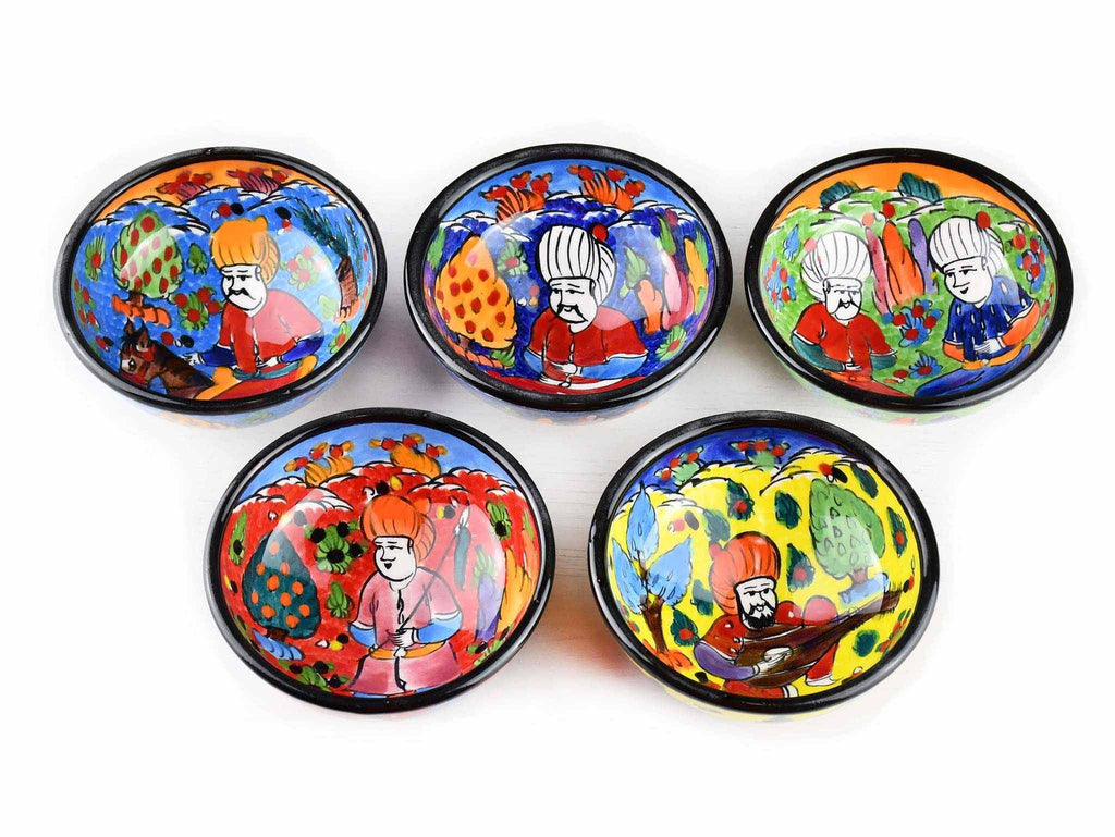 5 cm Turkish Bowls Ottoman Miniature Set of 5 Ceramic Sydney Grand Bazaar