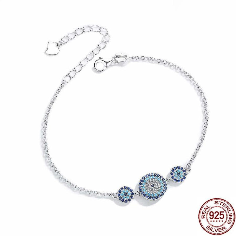 925 Triple Blue Evil Eye Sterling Silver Bracelet Evil Eye Sydney Grand Bazaar