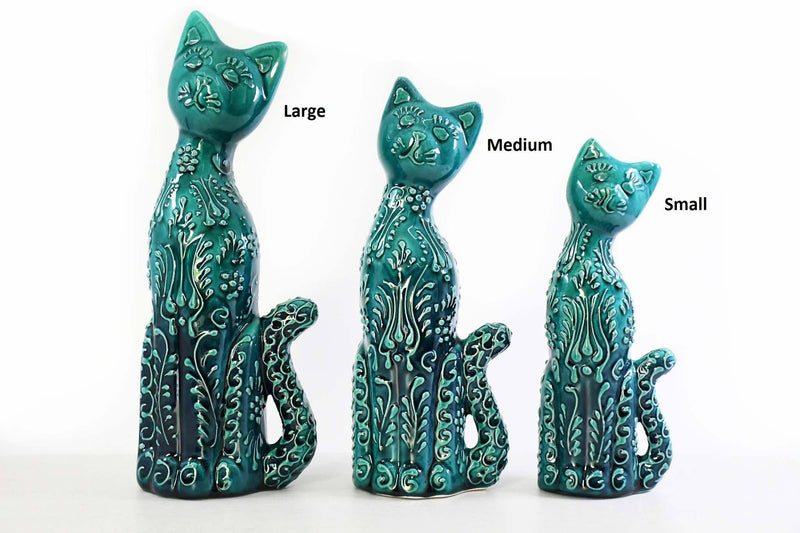 Turkish Ceramic Cat Figurines Iznik Light Blue Tail Up