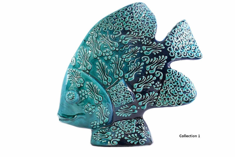 Turkish Ceramic Fish Figurine Dantel Light Blue