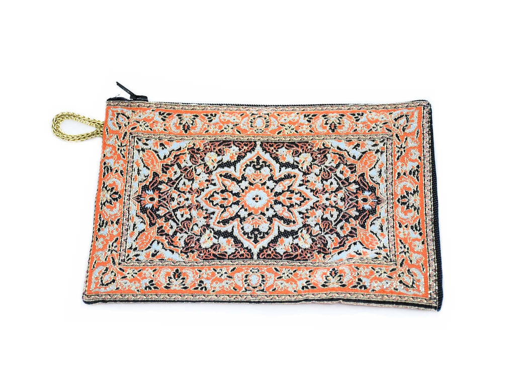 Coin Pouch Carpet Pattern Orange Black
