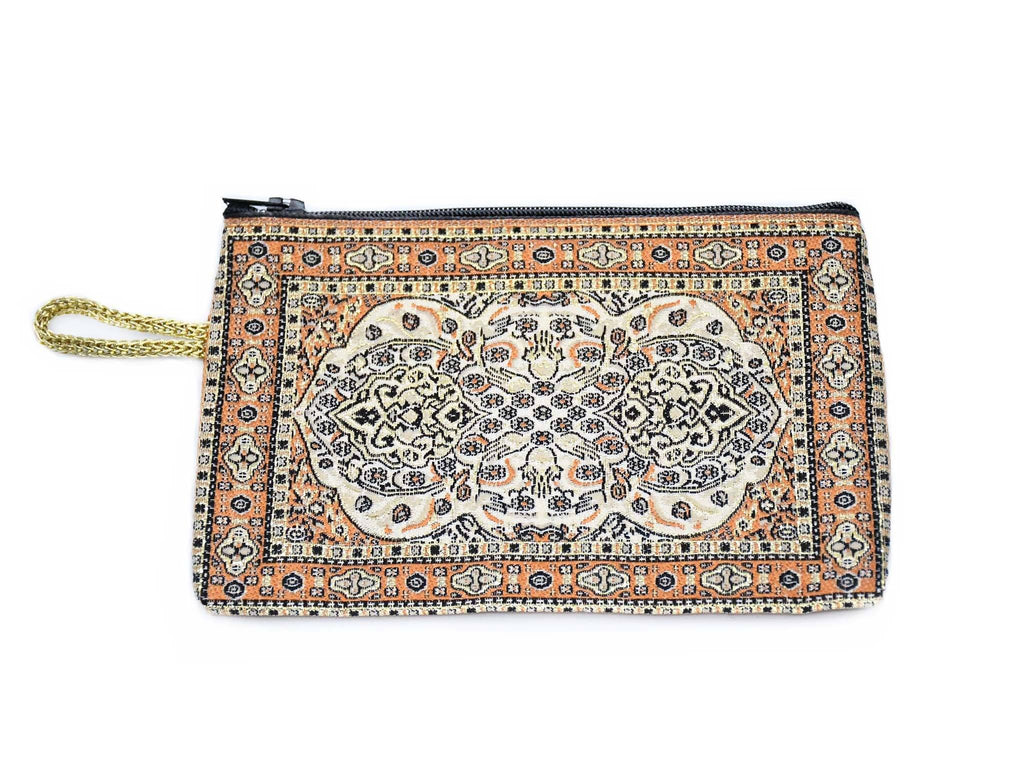 Coin Pouch Carpet Pattern Orange White