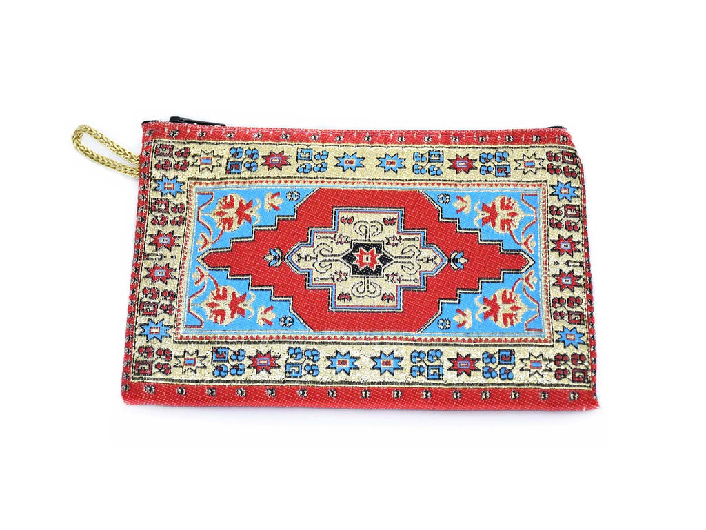Coin Pouch Carpet Pattern Red Blue