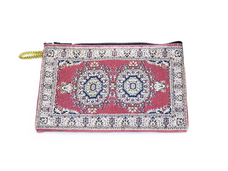 Coin Pouch Carpet Pattern Red Maroon