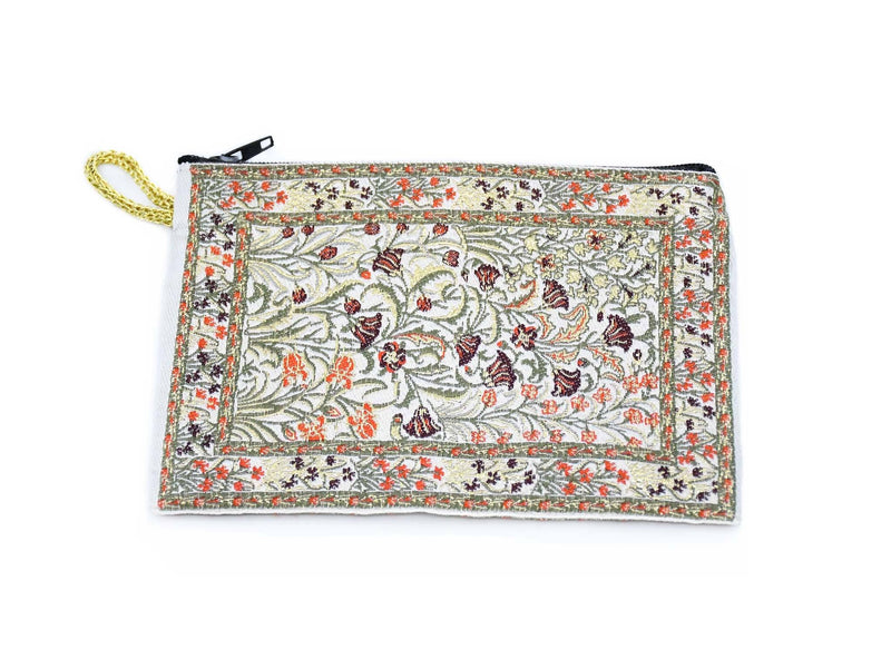 Coin Pouch Carpet Pattern Flowers White