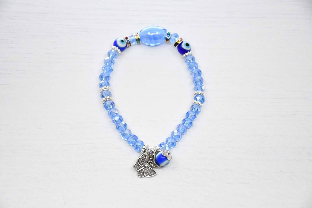 malocchio evil eye bracelet aqua colour
