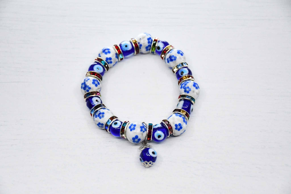Turkish Greek Mati Evil Eye Bracelet White