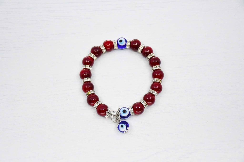 Turkish Greek Mati Evil Eye Bracelet Maroon