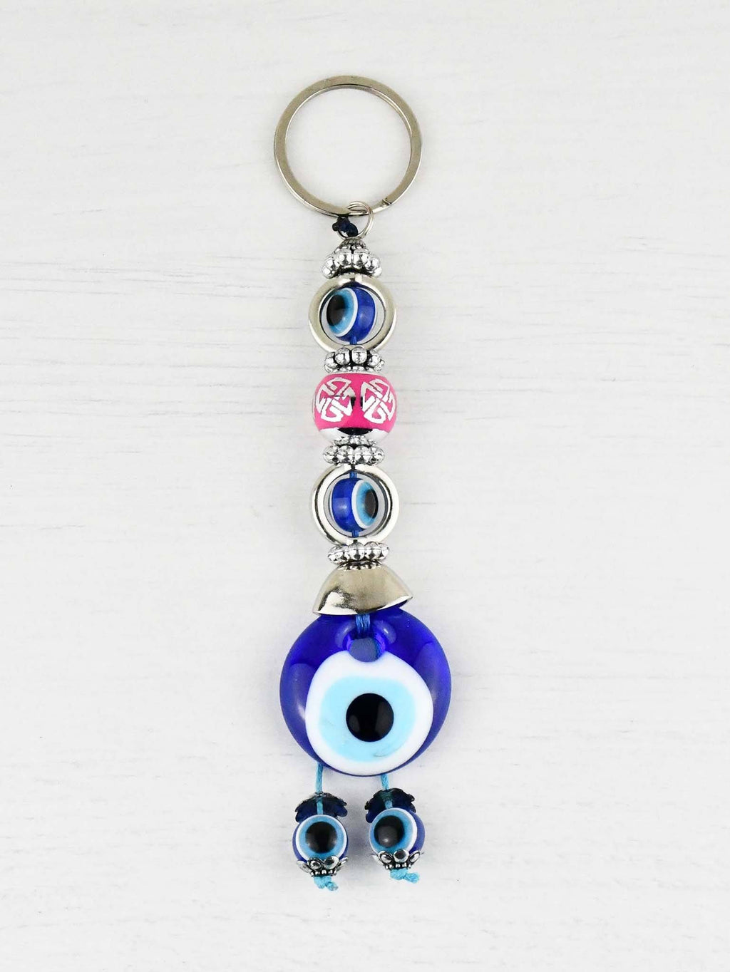 Evil Eye Keyring Small Pink Ball