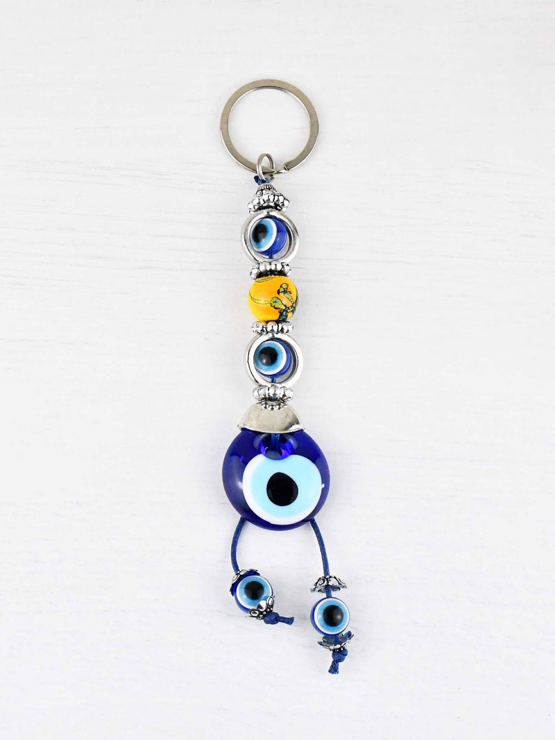 Evil Eye Keyring Yellow Bead
