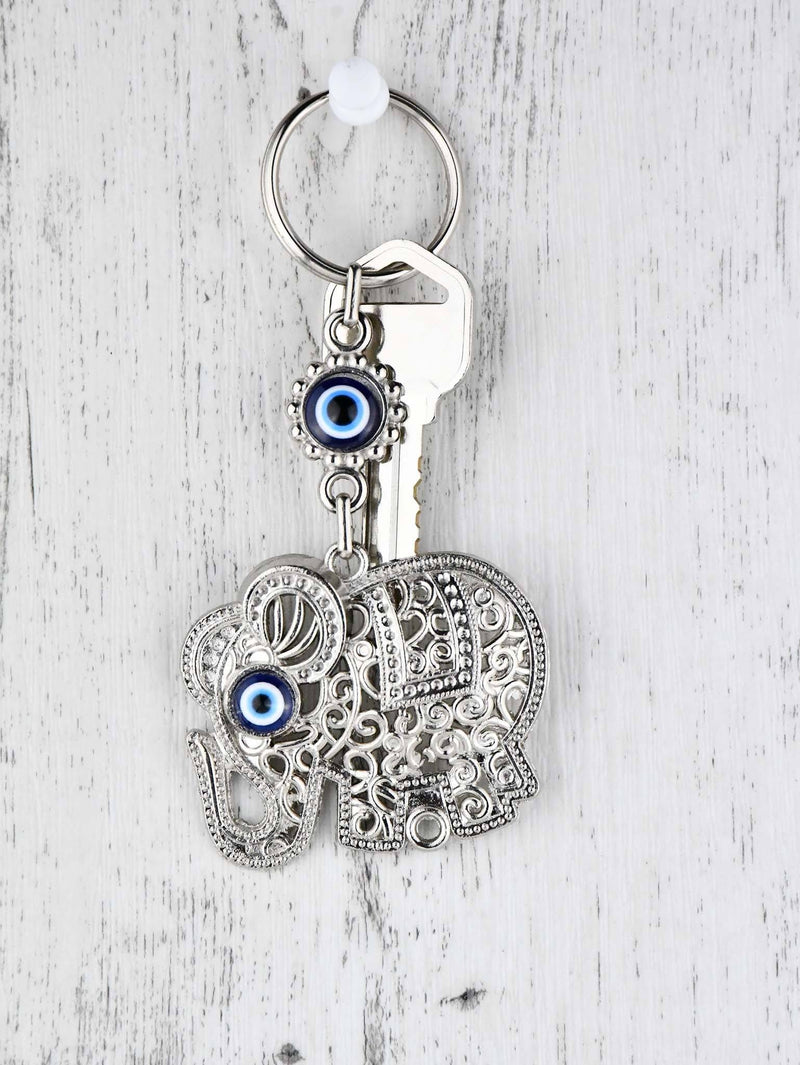 Evil Eye Keyring Faux Leather Owl Black