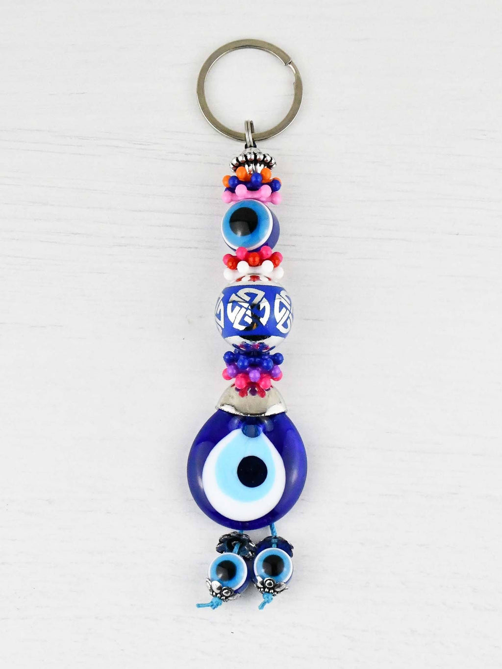 Evil Eye Keyring Large Blue Ball Colourful