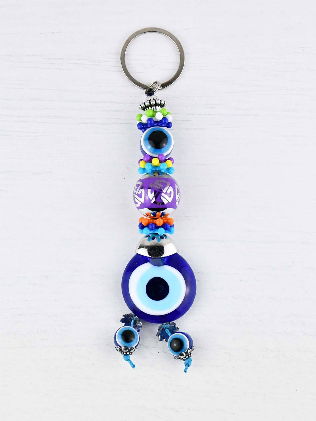 Evil Eye Keyring Large Purple Ball Colourful
