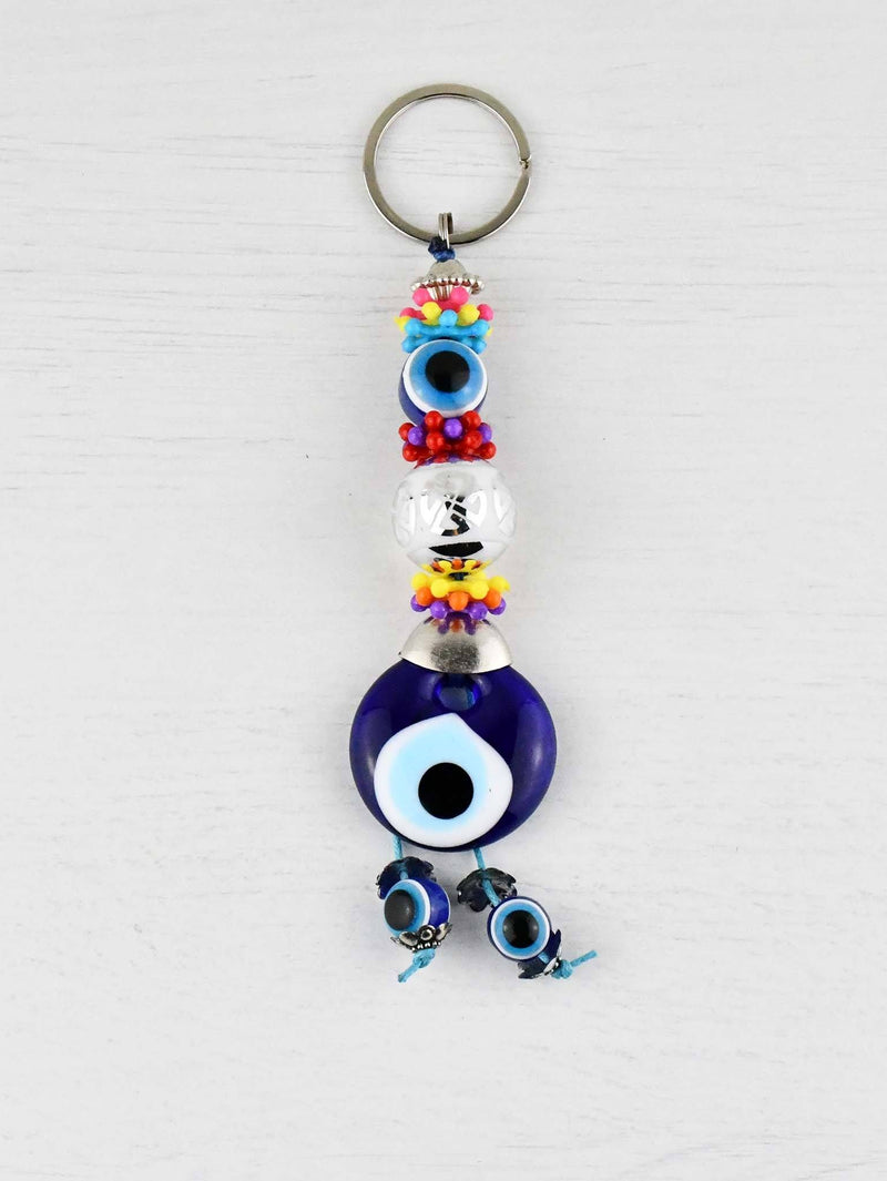 Evil Eye Keyring White Ball Colourful