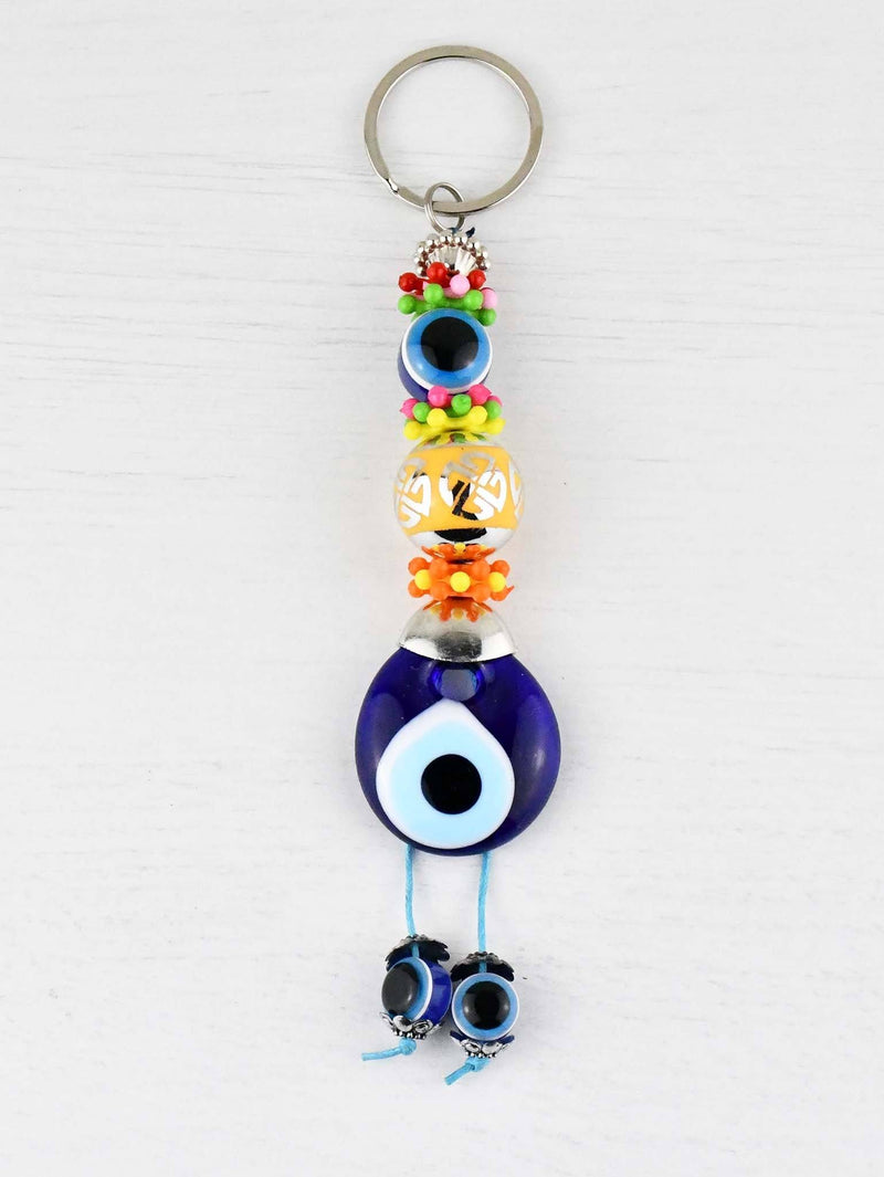 Evil Eye Keyring Large Yellow Ball Colourful