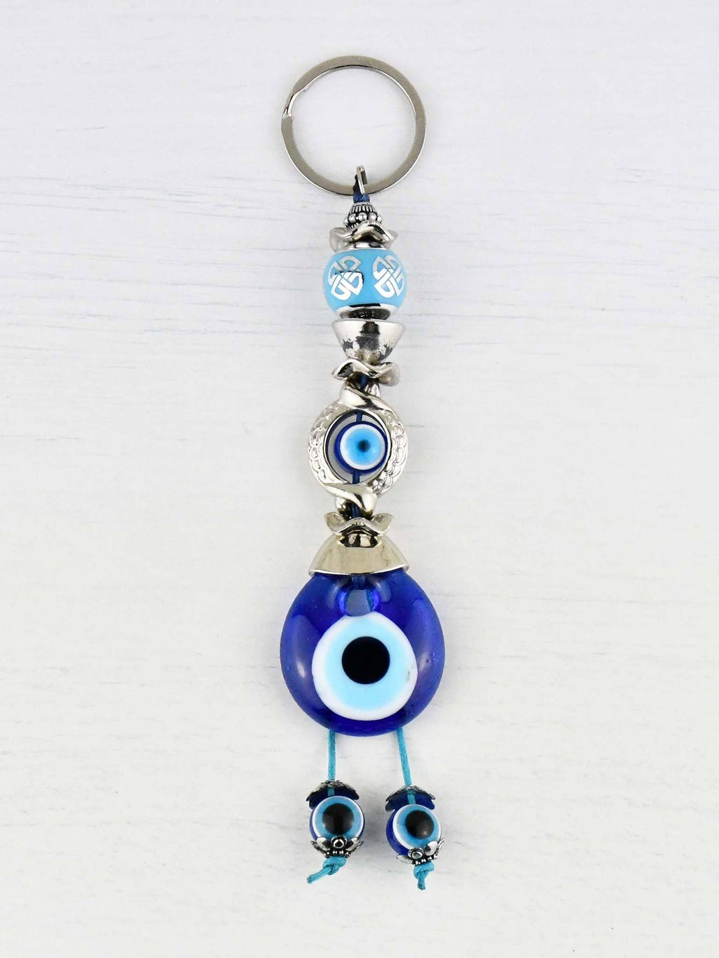 Evil Eye Keyring Light Blue Ball