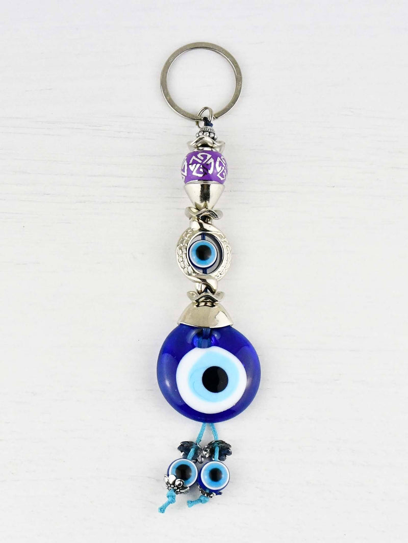 Evil Eye Keyring Small Purple Ball
