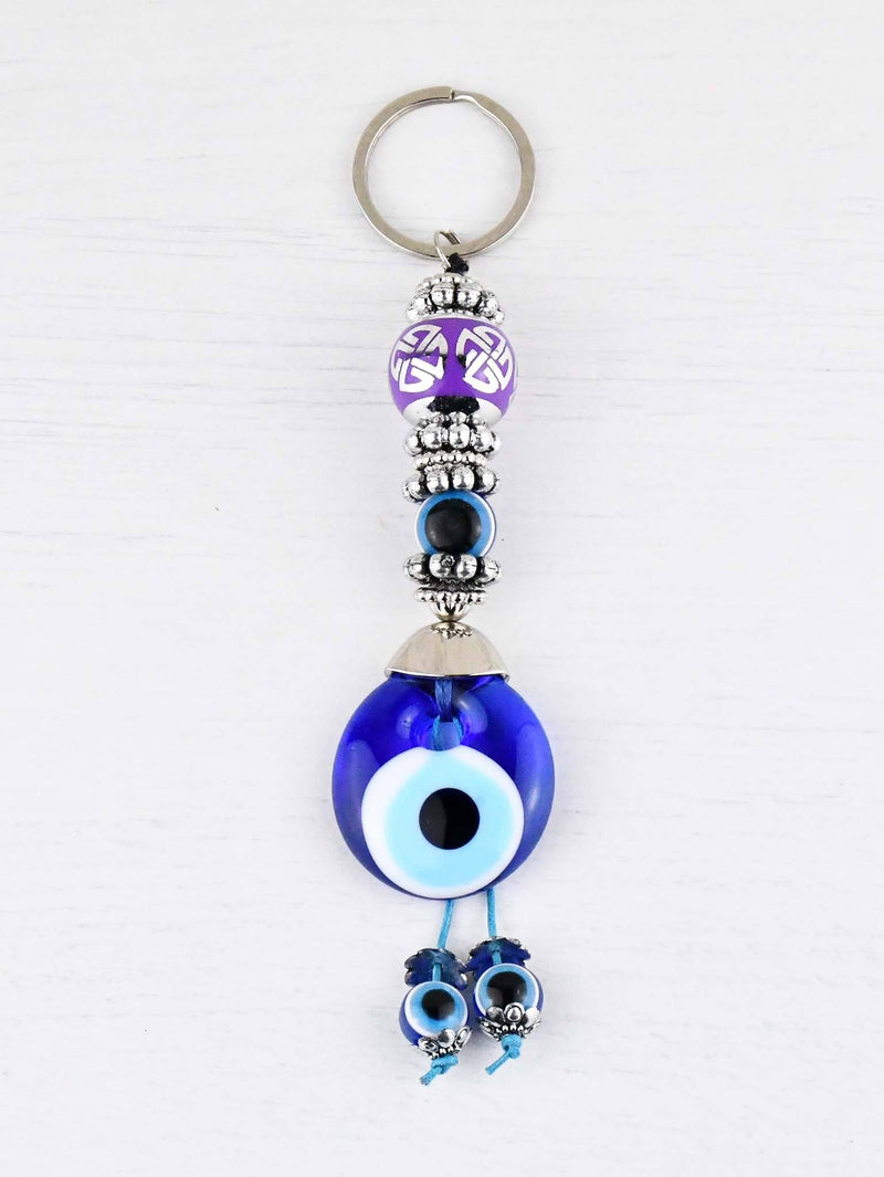Evil Eye Keyring Large Purple Ball