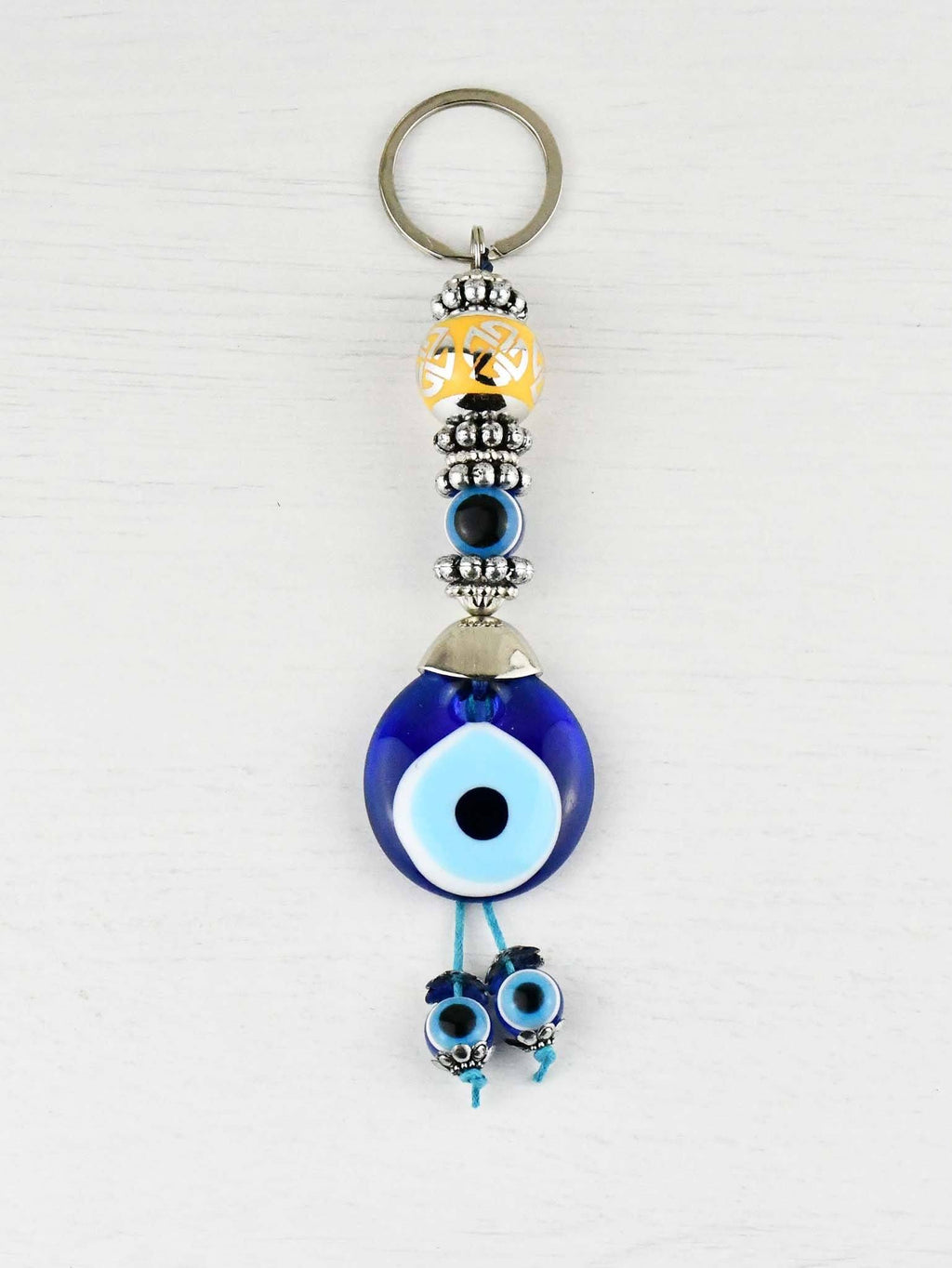 Evil Eye Keyring Large Yellow Ball Eye Bead