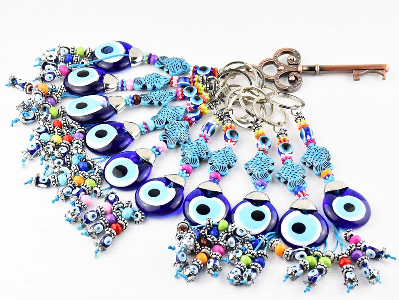 Evil Eye Keyring Turquoise Fish Design