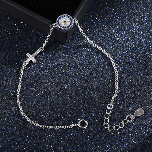 925 Evil Eye Cross Sterling Silver Bracelet