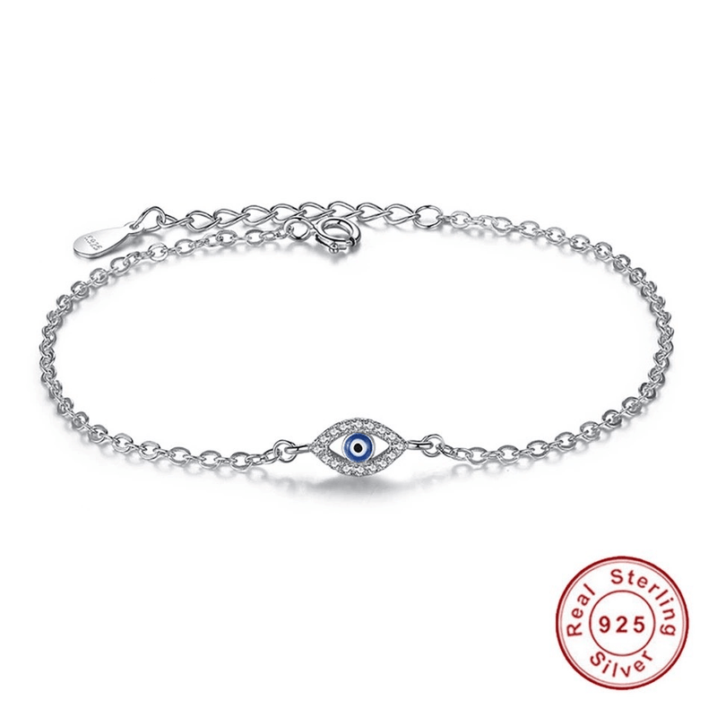 925 Triple Blue Evil Eye Sterling Silver Bracelet