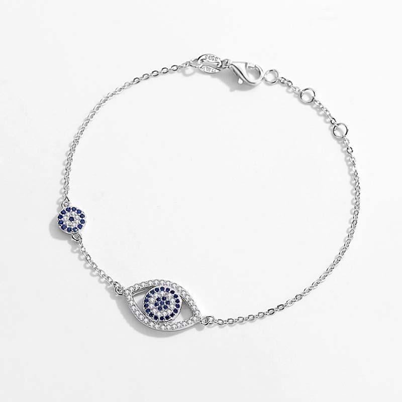 925 Double Evil Eye Sterling Silver Bracelet