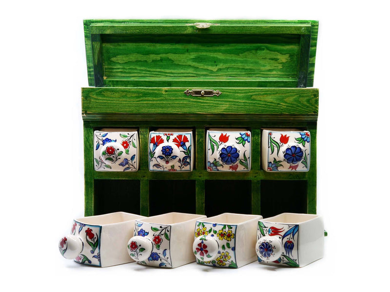 Handmade Ceramic Drawers Box Green