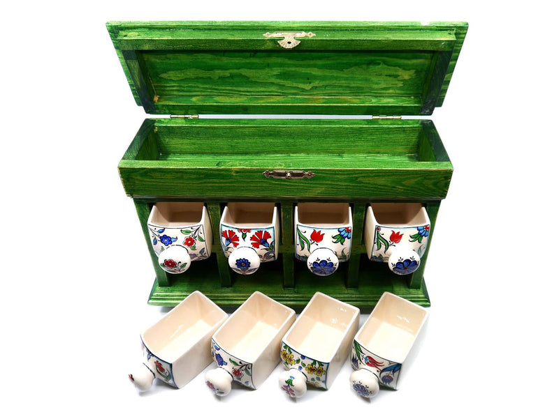 Hand painted Ceramic Chest Box Green