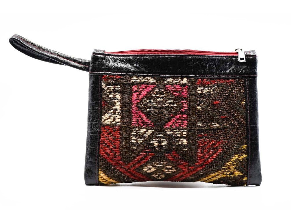 Turkish Wool Kilim Pouch Colourful Black
