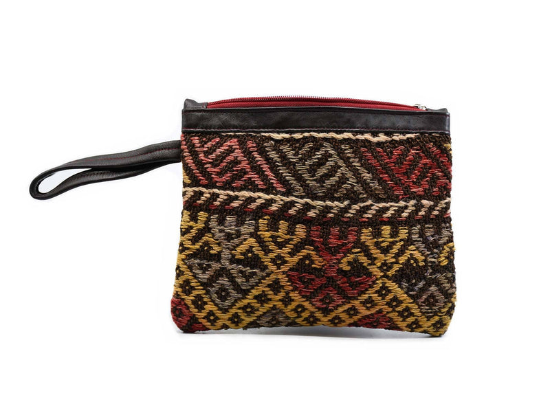 Wool Kilim Pouch Colourful Black Fabric