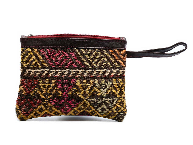 Coin Pouch Carpet Pattern Navy Red