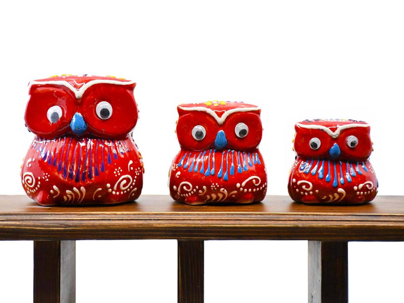 Owl ornament set red colour