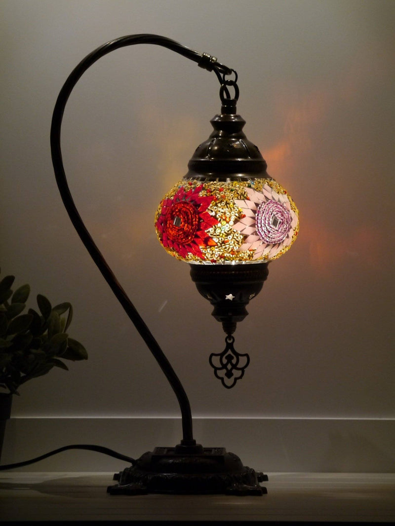 Turkish Lamp Large White Mosaic Wave